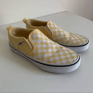 Vans Yellow Checkered Slip On Shoes Missy Size 3